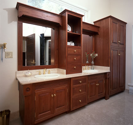 Cherry Vanity In Master Bath In A Victorian Home With Linen Closet At End  Of Run.